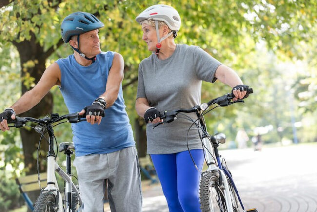 Cycling Seniors are healthy and happy.