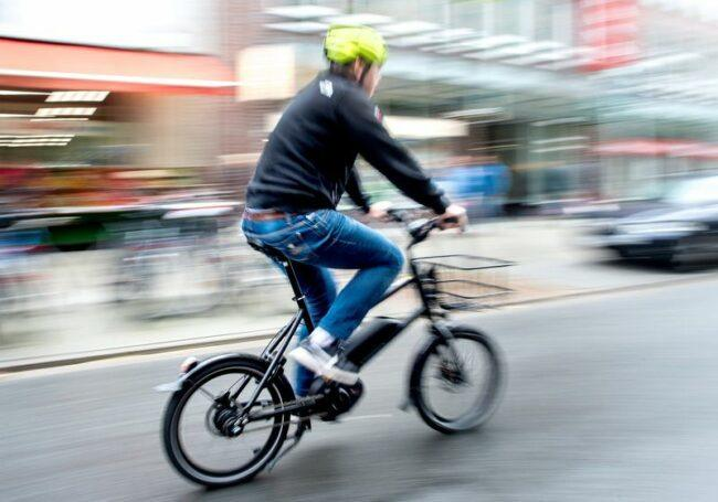 Rider enjoy speed riding with the electric bike