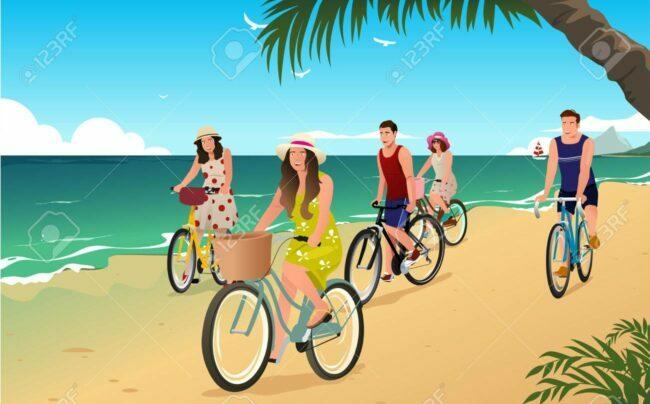 Happy People Biking on the Beach as feature image for best buy electric bikes bike berry shop