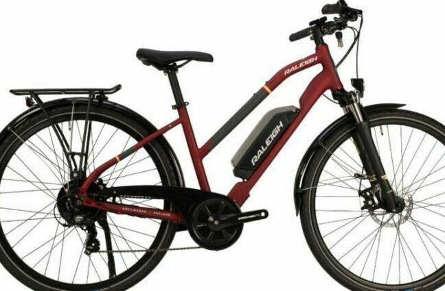 Raleigh Array Hybrid Electric Bike has two models. This model image is named Raleigh Array Open Hybrid Electric bikes for female riders. The other model is named as Raleigh Array Crossbar Hybrid Electric Bike.