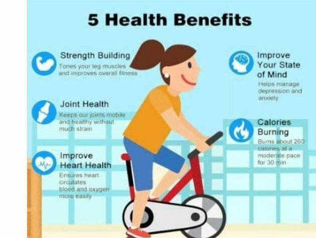 5 Health Benefits of exercise bike as feature image for Home Exercise Bikes sale.