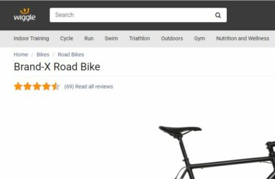 Overall rating of Brand-X Road Bike from Wiggle Online Shop.